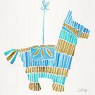 Mexikanischer Esel Piñata - Blau & Gold Palette von Cat Coquillette