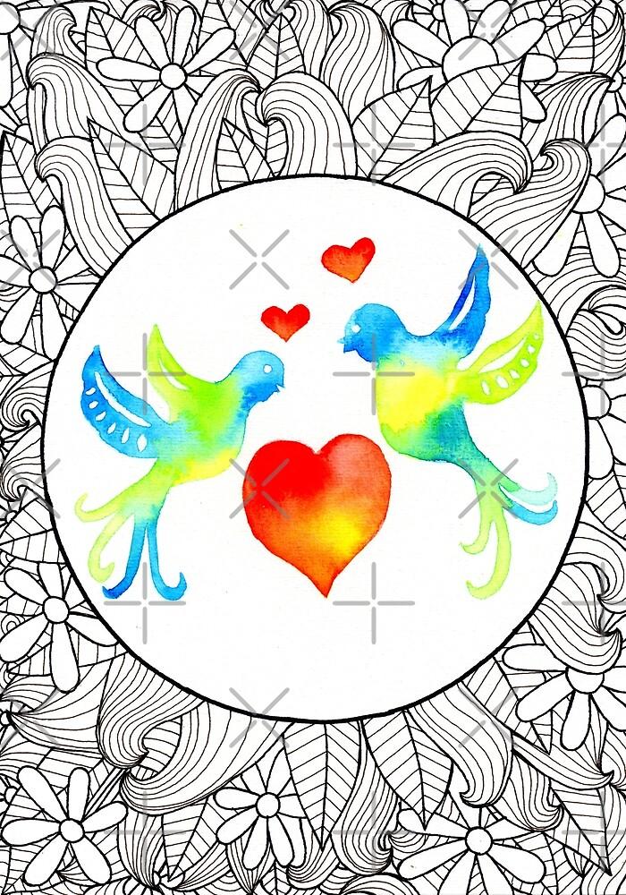 Doodle Art   Lovebirds by coloringiship