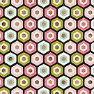 Hexagon-Wabenmuster - Pink Sage & Rose Gold von Cat Coquillette