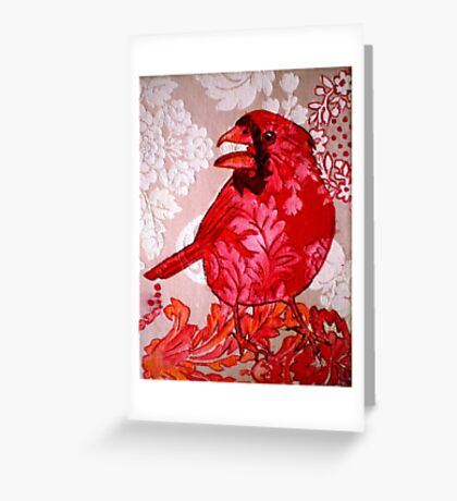 Red Bird Sitting on a Wall Greeting Card