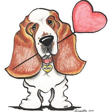 Basset Hound w/ Heart Balloon by offleashart