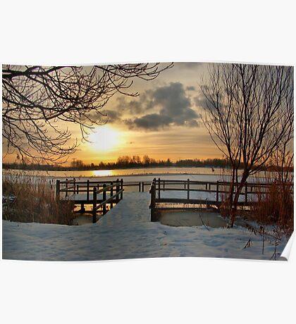 Wintermorning near the lake Poster