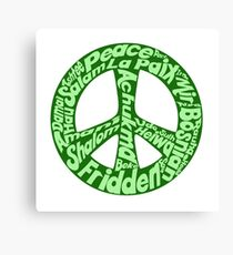 Green peace sign world languages  Canvas Print
