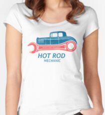 Hot Rod Mechanic Tailliertes Rundhals-Shirt
