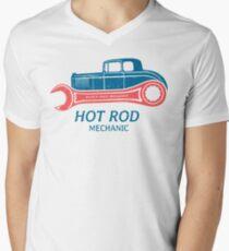 Hot Rod Mechanic T-Shirt mit V-Ausschnitt