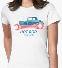 Hot Rod Mechanic Tailliertes T-Shirt für Frauen