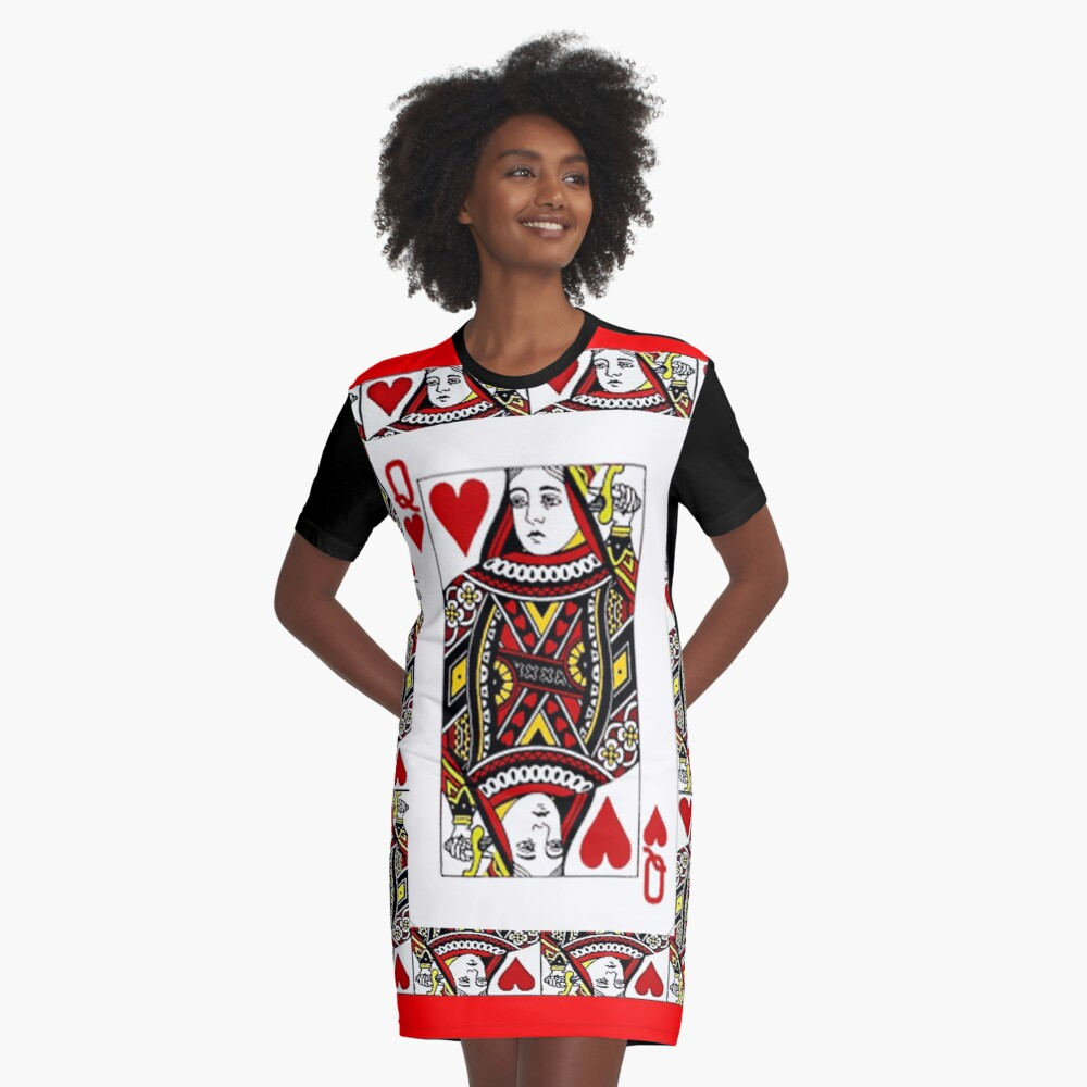 QUEEN OF HEARTS PLAYING CARDS ARTWORK  Graphic T-Shirt Dress