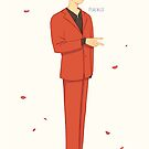 Taehyung red suit by peachlii