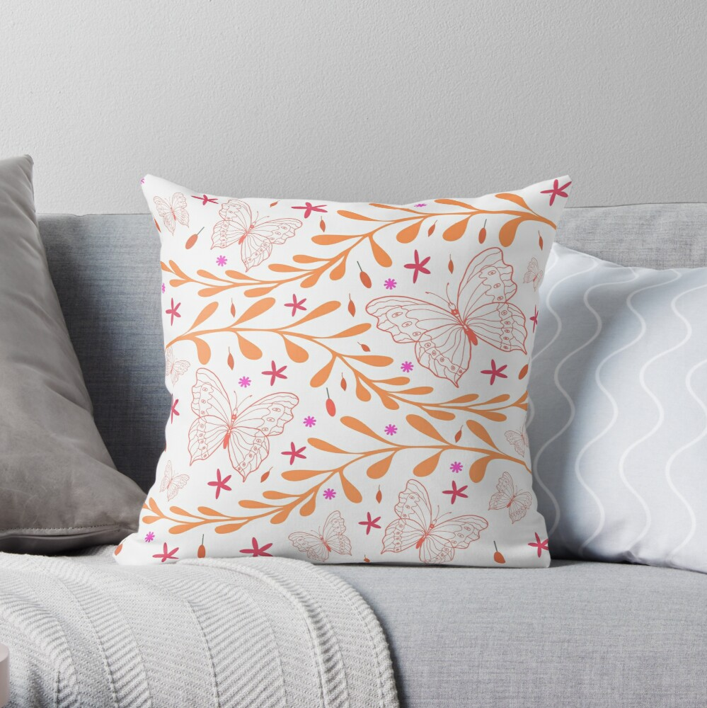 Coral Butterfly and Fern by Art and Patterns1 Throw Pillow