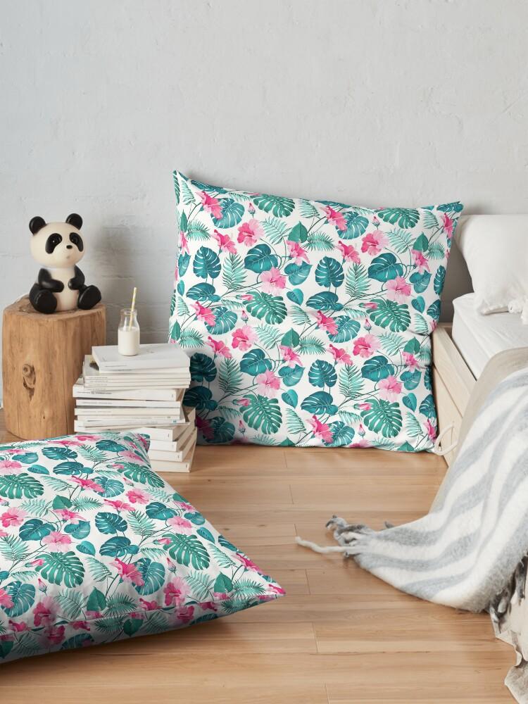 Alternative Ansicht von Kleine rosa Hibiskusblüten Bodenkissen