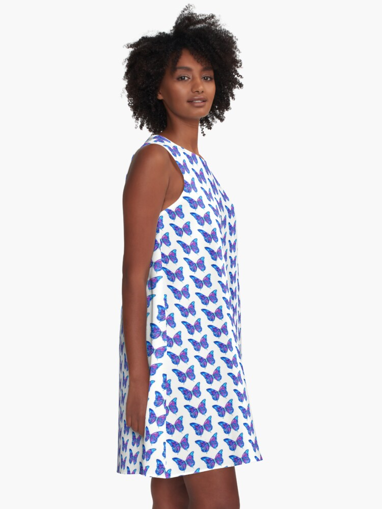 Alternate view of Pretty in Blue - Butterfly A-Line Dress