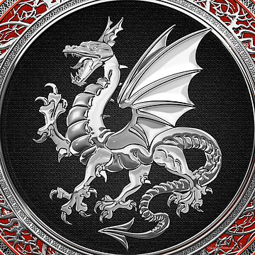 Silver Winged Norse Dragon - Icelandic Viking Landvaettir on Black and Silver Medallion over Red Leather  by Captain7