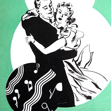 Dancing Deco Couple Green by collageDP