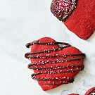 Trio of Red Velvet Heart Cookies  by carlacardello