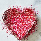 Heart Cookie Cutter with Pink Sprinkles by carlacardello