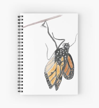Monarch Butterfly emerging from its Chrysalis Spiral Notebook