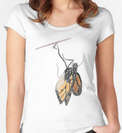 Monarch Butterfly emerging from its Chrysalis Fitted Scoop T-Shirt
