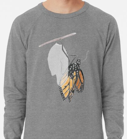 Monarch Butterfly emerging from its Chrysalis Lightweight Sweatshirt