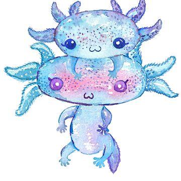 Cute Axolotl Pet Terrarium Amphibian Aquarium Gift by Pubi