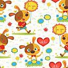 Be my valentine doggy illustrated pattern by Angela Sbandelli