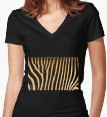 Grevy Zebra Design Women's Fitted V-Neck T-Shirt