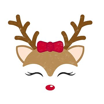 Cute Christmas Gifts Reindeer Girl Face Holiday Shirts  by arnaldog