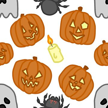 Halloween - Pumpkins Ghosts Candles Spiders by StarCrytid
