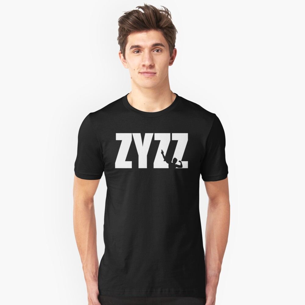 Zyzz Text White Slim Fit T-Shirt
