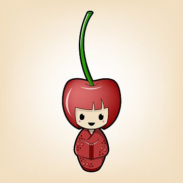 Cherry Kokeshi Doll by BubbleDoll