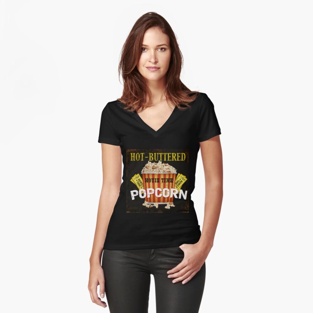 Arte de teatro de palomitas de maíz con mantequilla caliente Camiseta entallada de cuello en V