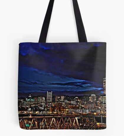 Portland Oregon at night Tote Bag