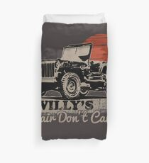 Vintage Willy's Hair Don't Care -Funny Jeeps Willy MB Lover Gifts Duvet Cover