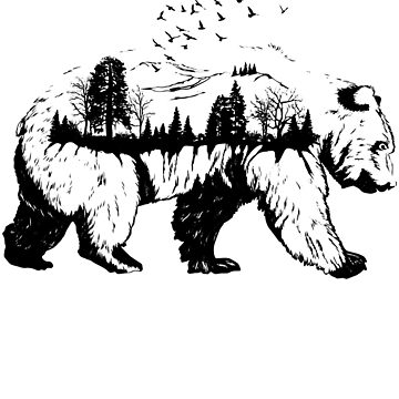 Bear and Forest Double Exposure  by MOUSATNI