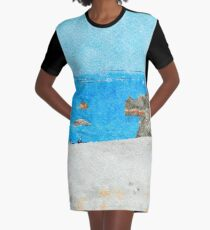 Seacoast of Scalea with rocks Graphic T-Shirt Dress