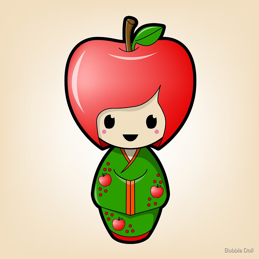 Apple Kokeshi Doll by Bubble Doll