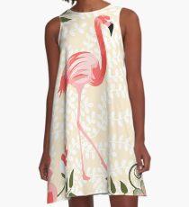Flamingo mit Blumen-Illustration A-Linien Kleid
