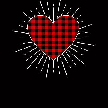 Big Red Hearts Buffallo Plaid for Valentine's Day by Tetete