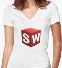 3D Cad/Cam/Cae Solid Works Designer Women's Fitted V-Neck T-Shirt