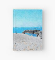 Bathers on the beach of Scalea Hardcover Journal