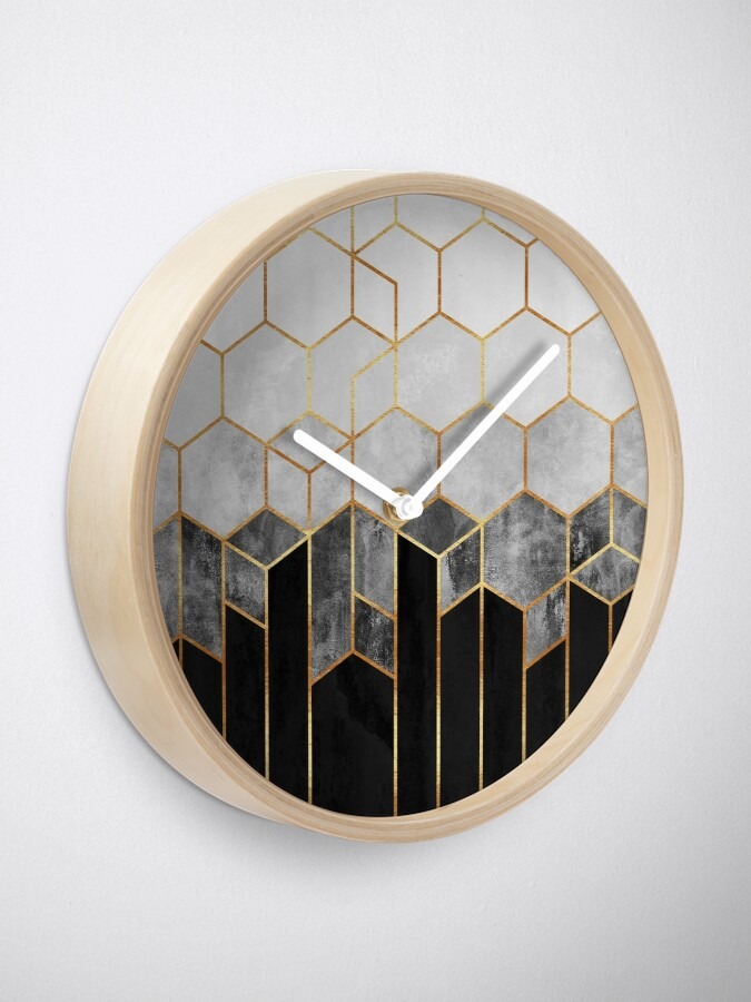 Alternate view of Charcoal Hexagons Clock