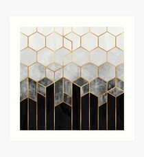 Charcoal Hexagons Art Print