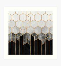 Hexagones de charbon de bois Impression artistique