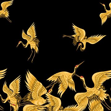 Golden Japanese Cranes Oriental by awesomeprints