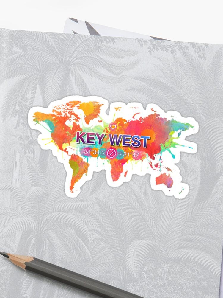 Key West Florida Map Vivid Watercolor World Map | Sticker Key West On World Map on darien on world map, cincinnati on world map, clermont on world map, cozumel mexico on world map, new brunswick on world map, minneapolis on world map, grenada on world map, cancun mexico on world map, acadia national park on world map, port-au-prince on world map, belize city on world map, port of spain on world map, st. lawrence seaway on world map, da nang on world map, jost van dyke on world map, norfolk on world map, calais on world map, arenal volcano on world map, recife on world map, lake okeechobee on world map,