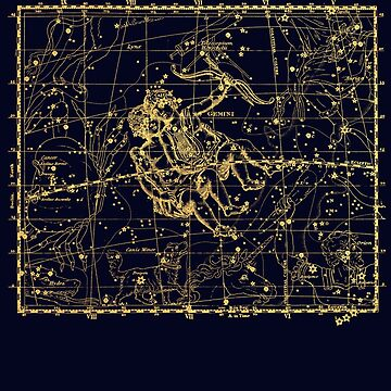 Gemini Constellation, Astronomy, Astrology, Zodiac, Vintage Engraving Map by MySunLife