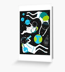A Day Out In Space - Black Greeting Card