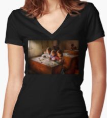 Teacher - Classroom - Education can be fun  Women's Fitted V-Neck T-Shirt