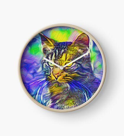 Artificial neural style iris flower cat Clock