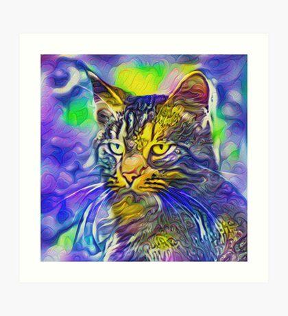 Artificial neural style iris flower cat Art Print