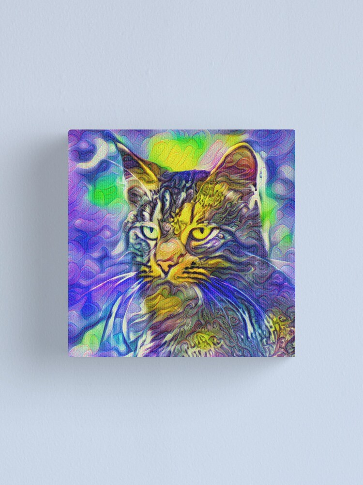 Alternate view of Artificial neural style iris flower cat Canvas Print
